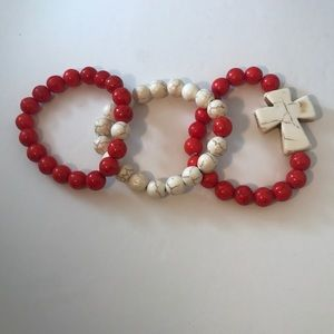Stackable Red Howlite Bracelets set of 3